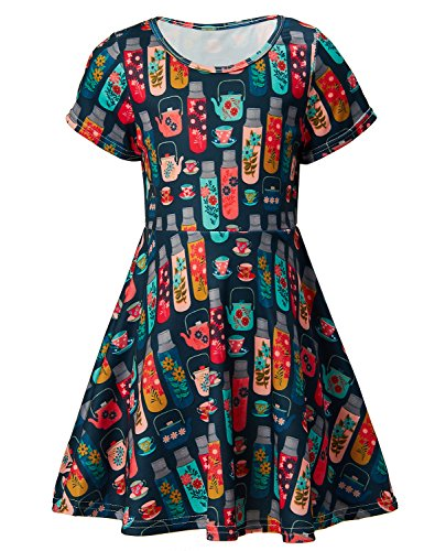 RAISEVERN Gilr's Short Sleeve Swing Skirt Dress Bitter Cups Printing Casual Dress for Kids 8-9 Years