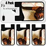 Liili Phone Card holder sleeve/wallet for iPhone Samsung Android and all smartphones with removable microfiber screen cleaner Silicone card Caddy(4 Pack) IMAGE ID: 1398267 Tobacco pipe over old map