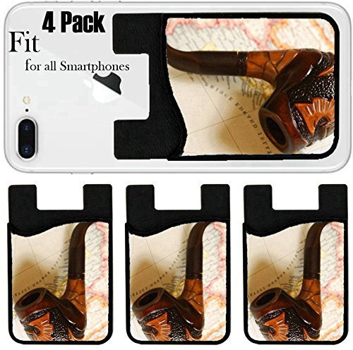 Liili Phone Card holder sleeve/wallet for iPhone Samsung Android and all smartphones with removable microfiber screen cleaner Silicone card Caddy(4 Pack) IMAGE ID: 1398267 Tobacco pipe over old map by Liili