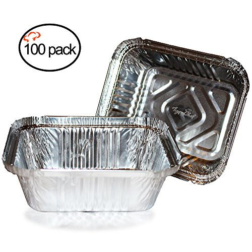 (TigerChef Durable Aluminum Oblong Foil Pan Containers , 1-Pound Capacity, Aluminum Foil Take-Out Pans , 5.56 x 4.56 x 1.63 inch (100,1-Pound)…)