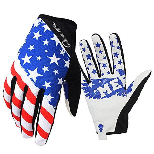 Cycling MTB Gloves with American Flag Design for Motocross Climbing Hiking
