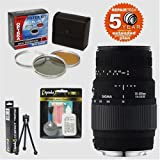 Sigma 70-300mm f/4-5.6 DG Macro Zoom Telephoto Lens & Filters & 6 Year Warranty for Canon EOS