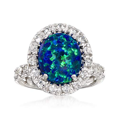 (Ross-Simons Blue Opal and 1.10 ct. t.w. White Topaz Ring in Sterling Silver)