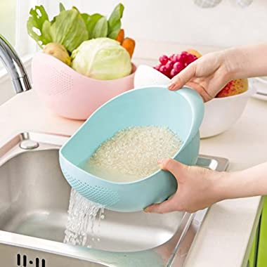Honest Good Japanese Style Rice Washer & Quinoa Strainer • Eco-Friendly BPA-Free Container with Fine Mesh Colanders Sieve Bowl • Japan Kitchen Good for Cleaning Veggie, Fruit and Pasta • Blue