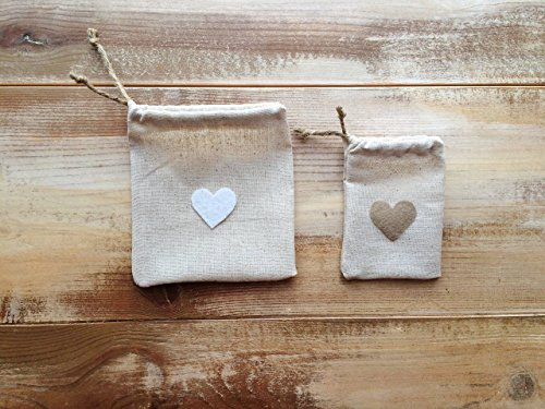 - Set of 12-Natural Cotton Favor Bags with Hearts-Cinch With Jute Twine-Two Sizes Available