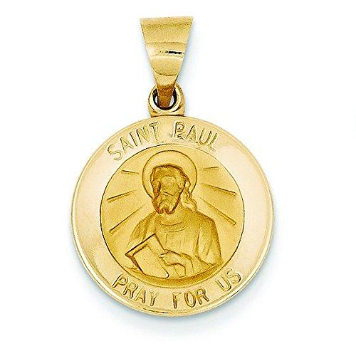 Satiné poli 14 carats et St. Paul JewelryWeb médaille pendentif