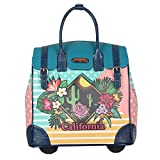 Nicole Lee Women's Fashion [Blue] Print Rolling Business Laptop Compartment Travel Tote, California Sunset, One Size For Sale