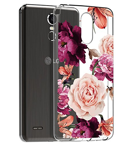 BAISRKE LG Stylo 3 Case, LG Stylo 3 Plus Case, LG Stylus 3 Case, Slim Shockproof Clear Floral Pattern Soft Flexible TPU Back Cove for LG Stylo 3/Stylo 3 Plus/LG LS777 [Purple Pink]