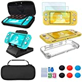 Accessories Kit for Nintendo Switch Lite – YOOWA Accessories Bundle with Carrying Case, Protective Cover case, 2-Pack Tempered Glass Screen Protector, Adjustable Play Stand, 6 Thumb Grips