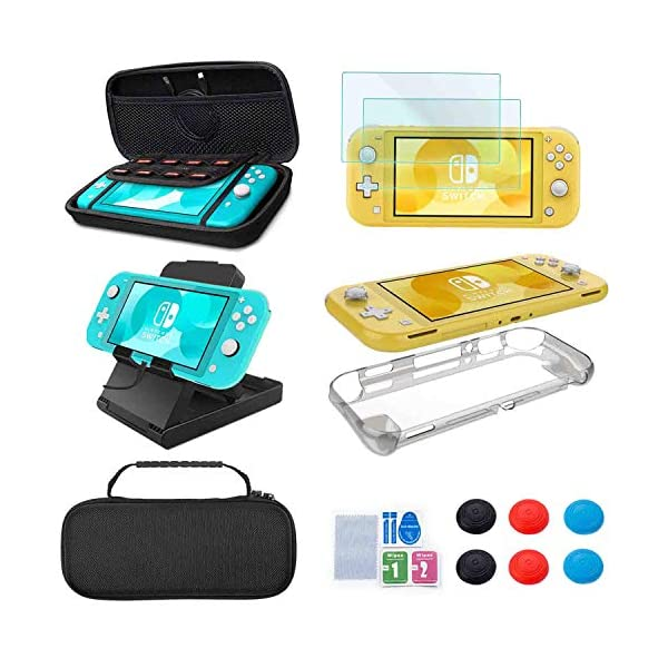 Accessories Kit for Nintendo Switch Lite - YOOWA Accessories Bundle with Carrying Case, Protective Cover case, 2-Pack Tempered Glass Screen Protector, Adjustable Play Stand, 6 Thumb Grips 1