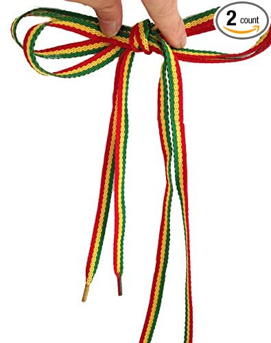 af065254d439 MAYBAO Rasta Shoelaces Red Yellow Green Stripes Punk Shoe Laces weed  Shoelaces Skater Boho Rad Hipster