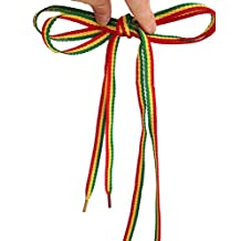 Rasta Shoelaces Red Yellow Green Stripes Punk Shoe Laces weed Shoelaces Skater Boho Rad Hipster Hobo Shoestrings Bob marley Striped Shoelaces 1 pair/lt