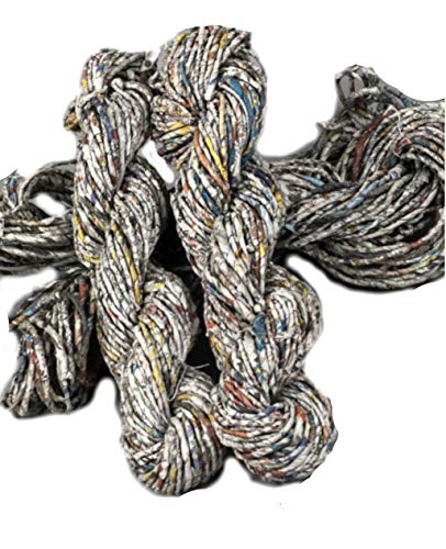 - KNITSILK Recycled Newspaper Yarn, Newspaper Yarn, Spun Newspaper Yarn Hand Twisted Newspaper Yarn, Magical Chunky, Basket Weaving, Knitting, Rugs, Fibre Art, Jewelry Making (Pack of 2)