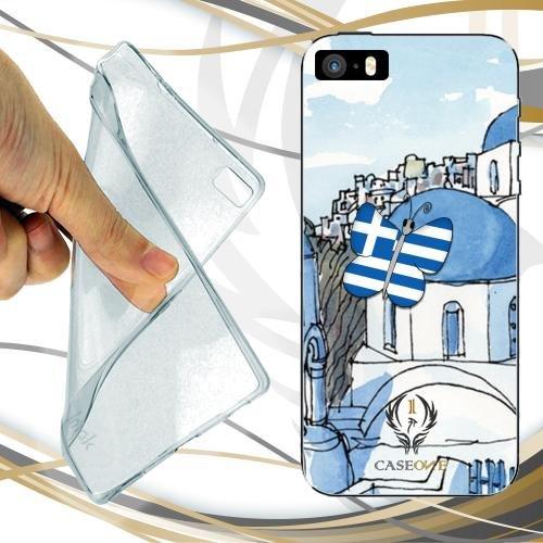 CUSTODIA COVER CASE CASEONE BUTTERFLY GREECE PER IPHONE SE