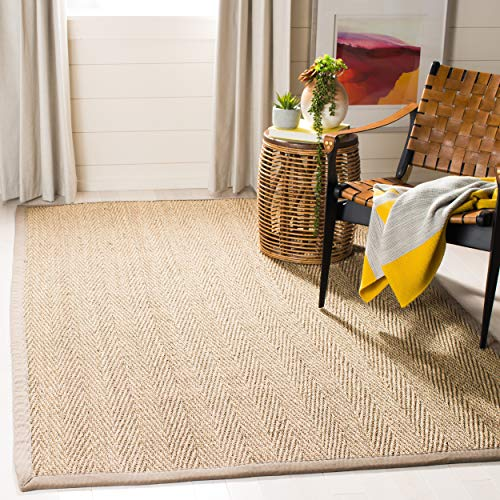 Safavieh Natural Fiber Collection NF115P Herringbone Natural and Grey Seagrass Area Rug (5' x 8')