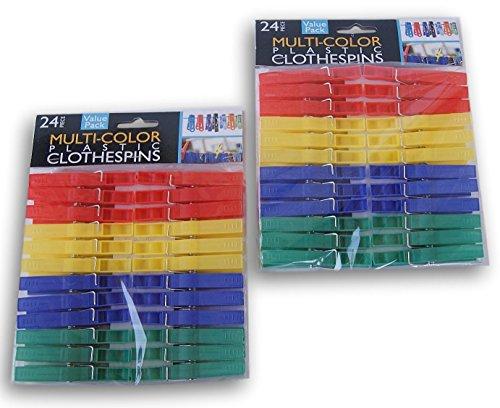 Kole Imports Multi-Colored Plastic Clothespins - 48 Count