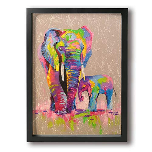 Henry Huxley Paintings On Canvas Wall Art Framed - Poster Frame Elephants Modern Home Decor Stretched Ready to Hang - for Indoor Living Room Decoration 12x16in