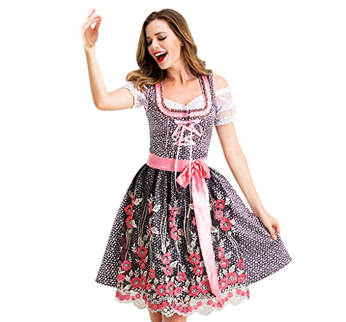 iLOOSKR Halloween Fashion Dress Women Cosplay Vintage Skirt Maid Mini A-Line Dress Red