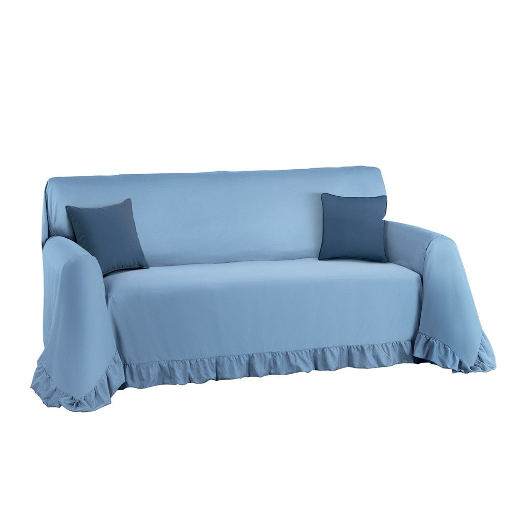 Collections Etc. Solid-Colored Ruffled Furniture Cover and Furniture Protector, Blue, Loveseat