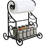 Freestanding Black Metal Kitchen & Bathroom Paper Towel Holder Stand / Counter Top Shelf Rack & Towel Bar
