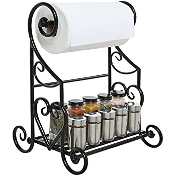 Amazon decorative black metal scrollwork design freestanding freestanding black metal kitchen bathroom paper towel holder stand counter top shelf rack ppazfo