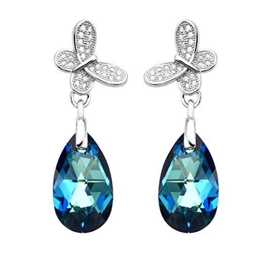 EleQueen Sterling Butterfly Teardrop Swarovski product image
