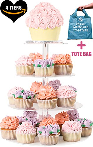 FOUR TIER CUPCAKE STAND ROUND - Dessert Tower | Plus Travel Tote Bag | Extra Strong 4 Tiered Clear Plastic Acrylic Serving Display Stands | Wedding Birthday Party Cup Cake Donut Tree By Cakes Of Eden