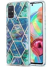 voor Xiaomi Redmi Note 9S & Redmi Note 9 Pro Case, Ultra-dunne Bling Glitter Sparkle Marmeren Steen Patroon Glanzend Hybride Slanke Zachte Terug TPU Rubber Gel Beschermende Telefoon Gevallen Schokbestendige Cover Blauw groen