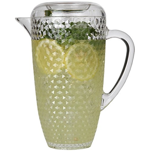 Lily's Home Break-Resistant Plastic Pitcher with Lid, Food-Safe and BPA-Free, Elegant and Ideal for Indoor or Outdoor Use for Lemonade, Iced Tea, Diamond Design (80 oz. or 2.5 Quart Capacity)