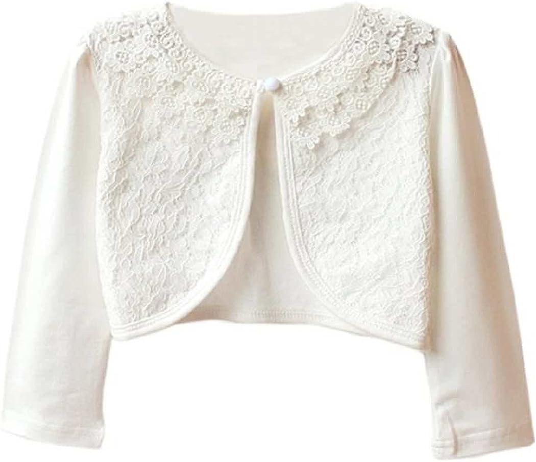 BluNight Collection Long Sleeve Collar Pearl Button Faux Fur Little Girl Bolero