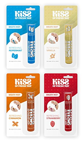 Kiss of Fresh Air Breath Mist (4 PACK); Peppermint, Vanilla, Cinnamon, Strawberry Breath Spray