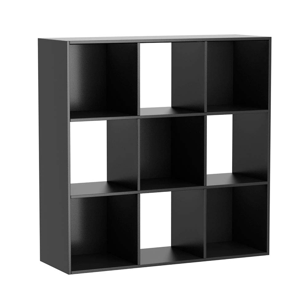 9-Section Cube Storage Provides Display and Storage Space Compatible with Collapsible Bins and Baskets 4 Open-Backed Cubes and 5 Backed Cubes Product Material Wood 35.38 X 11.75 X 35.38 Inches Black