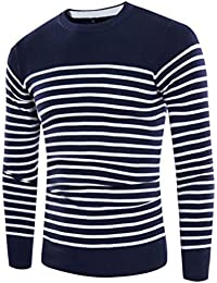YanCui@ Men's Daily Casual Color Block Stripes Micro-elastic Round Neck Knitted Sweater