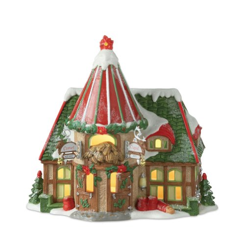 Department 56 North Pole Village Reindeer Stables Comet and Cupid Lit House
