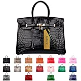 SanMario Designer Handbag Top Handle Padlock Women's Leather Bag Crocodile's Skin Patterns Embossed with Golden Hardware Black 35cm/14''