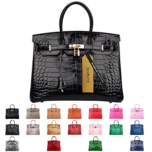 SanMario Designer Handbag Top Handle Padlock Women's Leather Bag Crocodile's Skin Patterns Embossed with Golden Hardware Black 35cm/14'' by SanMario