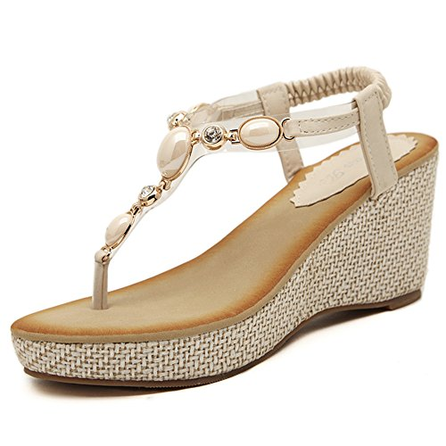 削る拳迷惑XIAOLIN クリップつま先スロープヒールサンダル女性の夏快適なファッションオープントゥースラインストーン女性の靴シンプルなストローサンダル(オプションのサイズ) (色 : 白, サイズ さいず : EU36/UK4/CN36)