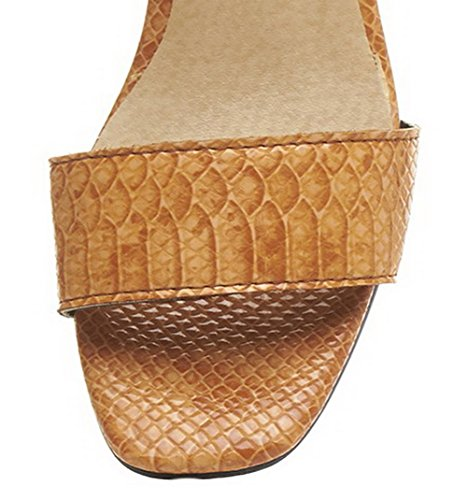 Couleur Unie Jaune Femme Ouverture Sandales d'orteil VogueZone009 Boucle FP8Inq
