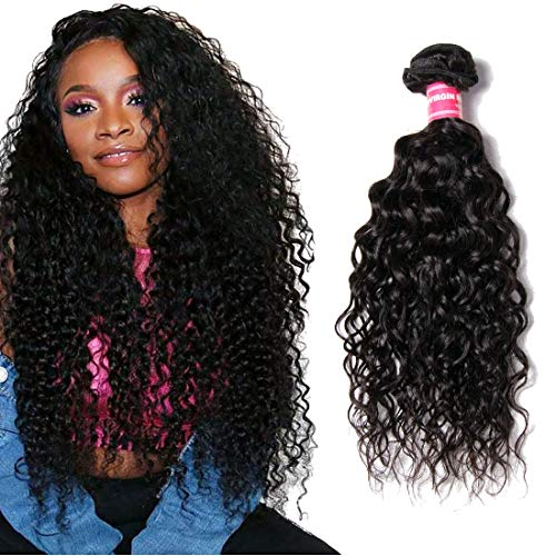 YIROO Brazilian Water Wave Virgin Human Hair Bundle Wet and Wavy Deal Hair Extensions 100% Unprocessed Double Weft 95-100g/pc Natural Black Color Tangle Free (8