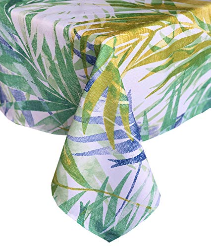 Newbridge Lani Tropical Palms Indoor/Outdoor Fabric Tablecloth - Coastal Blue and Green Palm Leaf Soil Resistant, Water Repellent Fabric Tablecloth, 70 Inch Round ()