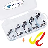 FISHFUNN Premium Fishing Hooks, 50PCS Special Barb Fishhooks with High Carbon Steel, Bait Worm Fish Hook with Plastic Box, for Freshwater/Seawater (5 Sizes:# 2, 1,1/0, 2/0, 3/0)