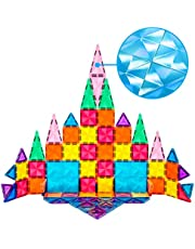 PicassoTiles 80 Piece Magnetic Building Block Mini Diamond Series Travel Size On-The-Go Magnet Construction Toy Set STEM Learning Kit Educational Playset Child Brain Development Stacking Blocks PTM80