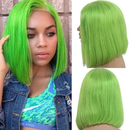 Short Bob Wigs Human Hair Pre Plucked Natural Hairline 13×4 Frontal Lime Green Swiss Lace Silky Straight Bob Colored Light Green 10