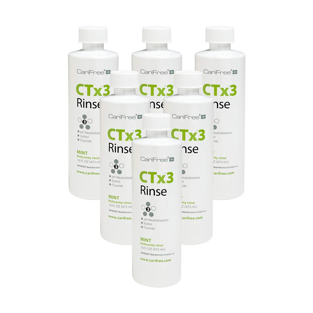 CariFree CTx3 Rinse (Mint): Fluoride Mouthwash | Dentist Recommended Anti-Cavity Rinse | Neutralizes Oral pH | Freshen Breath | Cavity Prevention (6-Pack)