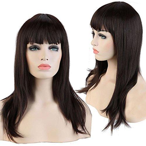 Women's Hair Cosplay Party Wigs Dark Brown Long Curly Bangs Full Wig - 8