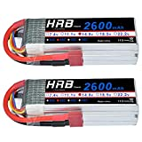 HRB 2Packs 4S 14.8V 2600Mah 35C Lipo Battery with Deans T Plug for RC Quadcopter Airplane Car Truck Boat Hobby
