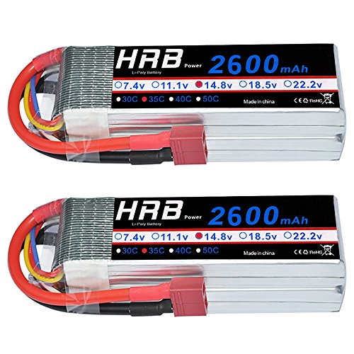 HRB 2Packs 4S 14.8V 2600Mah 35C Lipo Battery with Deans T Plug for RC Quadcopter Airplane Car Truck Boat Hobby by HRB