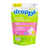 Dropps HE Baby Laundry Detergent Pacs, Scent, Dye and Enzyme-Free, 20 Counts (Pack of 3)