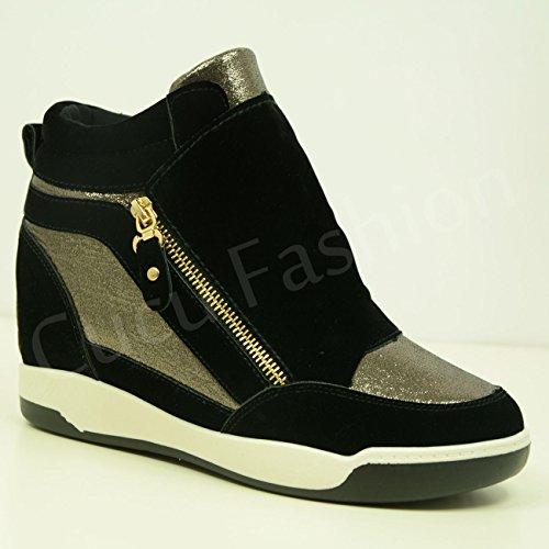 Fashion Gold Stiefeletten Keilabsatz Bronze 8 New Trainer Brand Damen Größe 3 UK Cucu Metallic Damen Hightop Schuhe qCRgHw