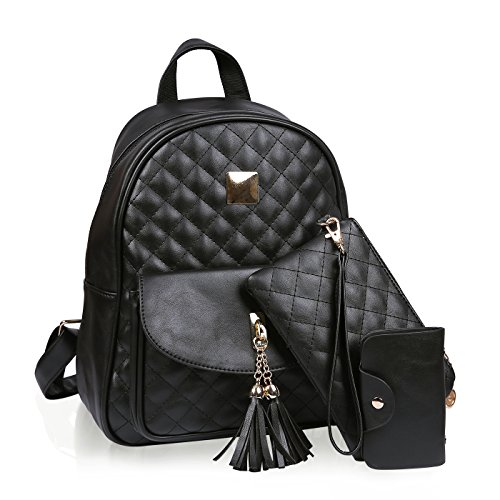 (HDE Small Fashionable Backpack for Women Mini Black Quilted Fashion Backpacks Purse )